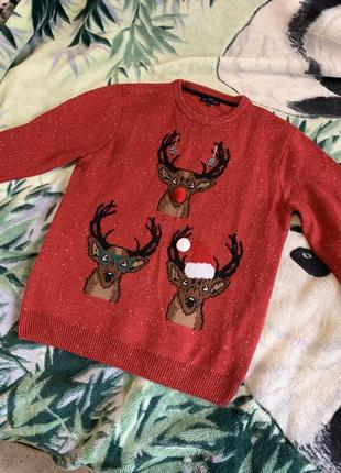 Свитер мужской новогодний с оленями красный зимний