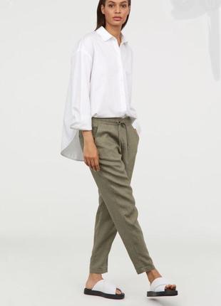 Лён льняные штаны брюки джогеры хаки натуральные укороченные на резинке шнуровке