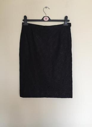 Классическая кружевная чорная юбка, размер m, юбка- карандаш, спідниця