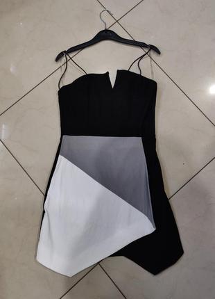 👑♥️final sale 2019 ♥️👑  черное мини платье колор блок с асимметричным низом