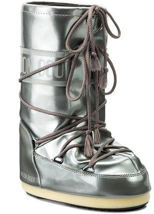Moon boot vinyl met silver 39-41луноходы/мунбут/угги/зимние сапоги