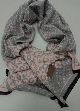 Louis vuitton шарф женский кашемировый теплый серо розовый