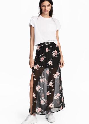 Длинная юбка в цветы\шифоновая юбка в пол с разрезами 165\68 h&m