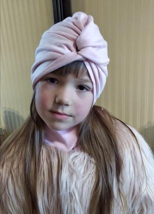 Розовая шапка тюрбан чалма для девочки