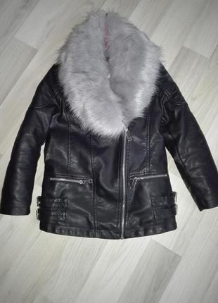 Куртка эко-кожа черная для девочки теплая