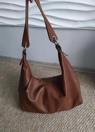 Итальянская рыжая кожаная женская сумка шоппер alberto di canio