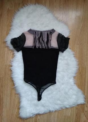 Нарядный бодик стрингами вискоза,черный боди футболка блуза с рюшами жабо,черная блузка