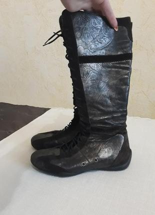 Кожаные сапоги на шнуровке footglove