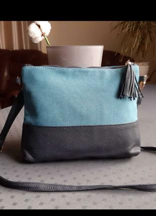 Красивая синяя новая сумка кроссбоди текстиль, экокожа