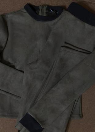 Костюм 2-ка zara штаны кофта эко замш цвет хаки!