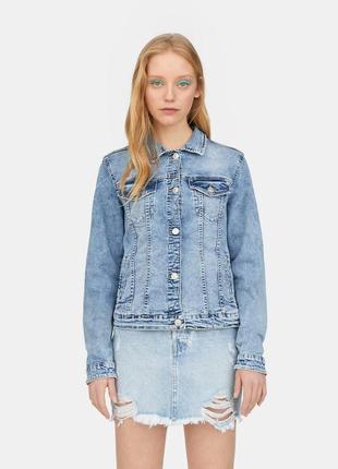 Джинсовая куртка джинсовка пиджак голубой вареный джинс