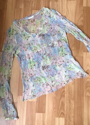Люкс фирменная шелковая блуза р.m-l