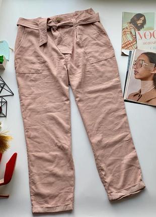 👖стильные розовые штаны/пудровые брюки/нюдовые штаны с карманами под пояс👖