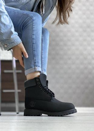 Акция! женские осенние ботинки/ сапоги/ угги timberland black 😍 {без меха/термо/еврозима}