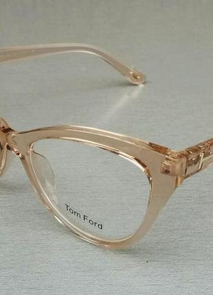 Tom ford очки женские имиджевые в бежевой прозрачной оправе