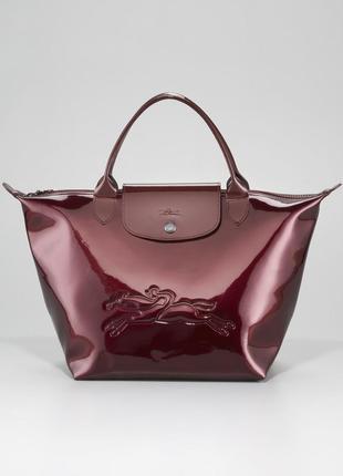Longchamp!яркая кожаная сумка, натуральная кожа, цвет бордо, вишня, бургунди, лаковая