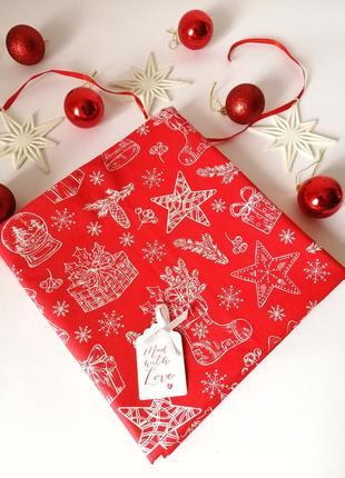 Новогодняя, праздничная скатерть, новорічна, різдвяна скатертина