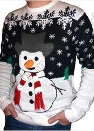 Новогодний атмосферный чудный теплый и не толстый свитер реглан свитшот снеговик л-хл