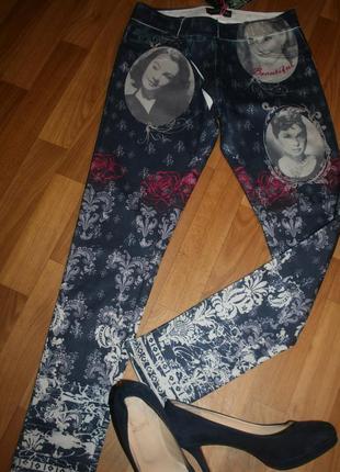 Стильные стрейчевые брюки-скинни в стиле лосины с принтом золотой век голливуда