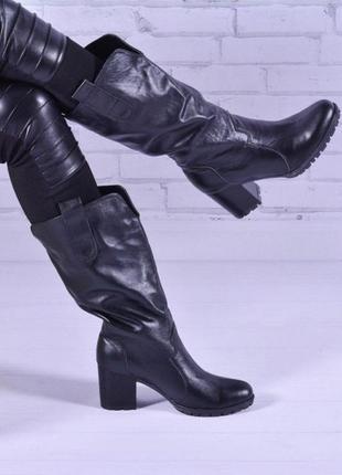 Новинка!кожаные сапоги свободного одевания осень-зима