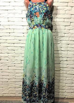 Нарядное шифоновое платье, макси длина