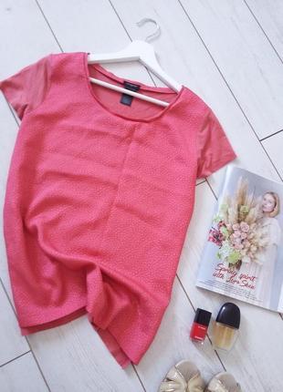 Дизайнерская комбинированая блуза кораловый цвет..# 361 ann taylor