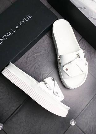Kendall + kylie оригинал белые кожаные сандалии на платформе