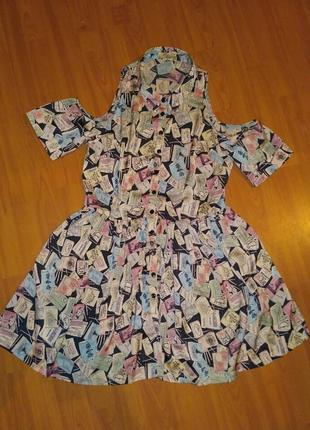 Платье  -  рубашка с ярким принтом