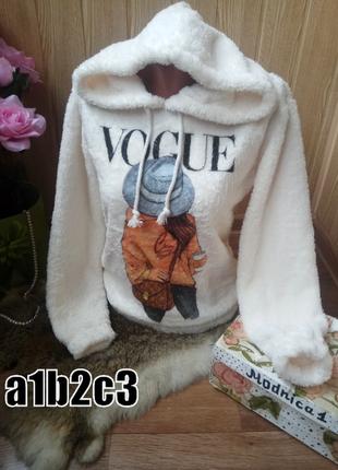 Теплый свитшот  худи меховушка с капюшоном и стильным принтом -размеры