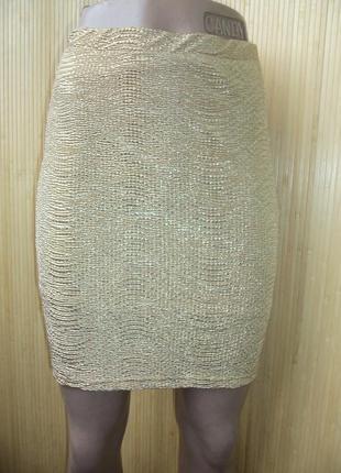 Золотистая мини юбка h&m