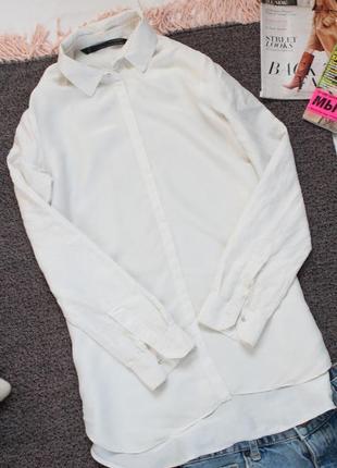 Молочная блуза зара со сьемным воротником 34 разер хс zara