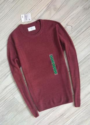 Новый с бирками мужской брендовый пуловер бордового цвета, м размера.