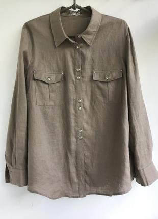 Новая льняная рубашка цвета тауп, блуза из льна лен linen