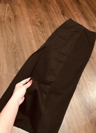 Черная длинная юбка в пол миди с высокой посадкой