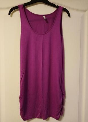 Длинная майка трикотажная, фиолетовая, платье, туника