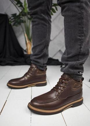 Стильные мужские ботинки в коричневом цвете из кожи (осень-зима-весна)😍