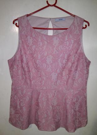Красивая,гипюровая-кружевная,розовая-пудровая блуза с баской,бол.14-18р.george,морокко