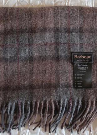 Шерстяной шарф в клетку от известного бренда barbour