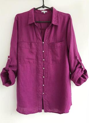 Рубашка лляная льняная сиреневого пурпурного цвета, блуза лен linen
