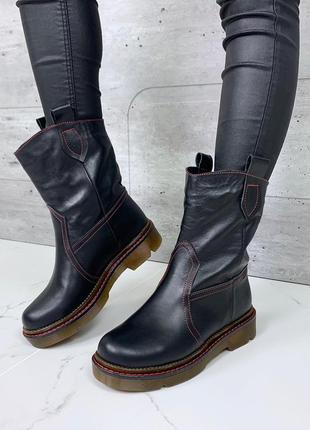 Крутые качественные зимние ботинки из натуральной кожи