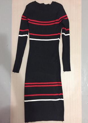 Платье в рубчик теплое в полосочку.