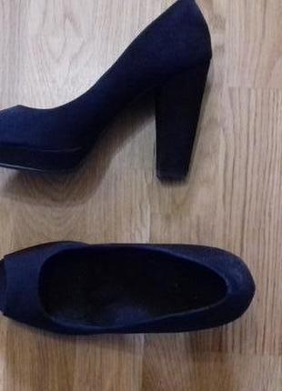 Шикареые туфли замша с открытым носком  босоножки ортопедическая стелька