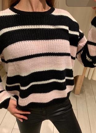 Тёплый вязаный свитер в полоску house есть размеры