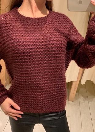 Бордовый вязаный свитер house есть размеры