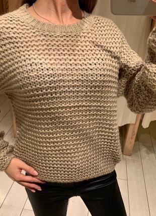 Бежевый вязаный свитер house есть размеры