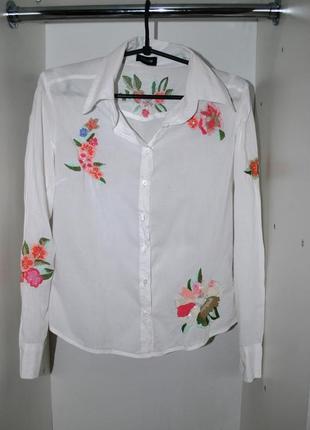 Блуза рубашка белая с вышивкой sineguanone s длиный рукав