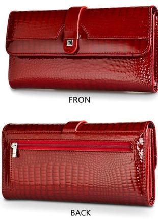 Кошелёк красный кожаный женский лаковый натуральная кожа под змею италия шикарный портмоне