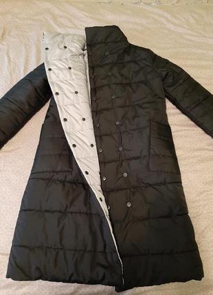 Пальто двухсторонее(матовый чёрный/светлое серебро))