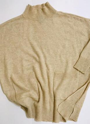 Стильный свитер туника с разрезами шерсть мириноса