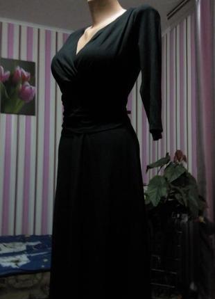 Платье миди 48  50  размер офисное  бюстье осеннее нарядное с рукавом  черное